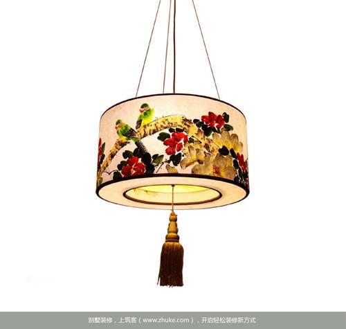3,中式风水墨画手绘羊皮吊灯